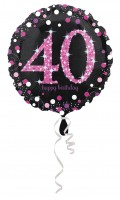 Pink 40th Birthday Folienballon 43cm
