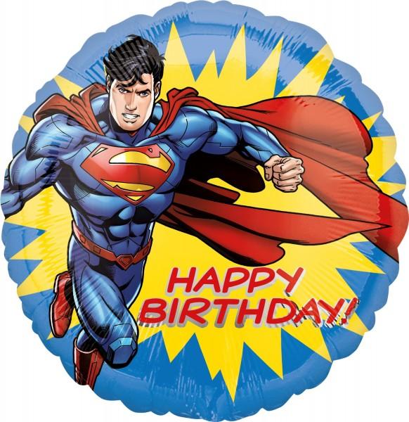 Ballon aluminium Happy Birthday Superman rond
