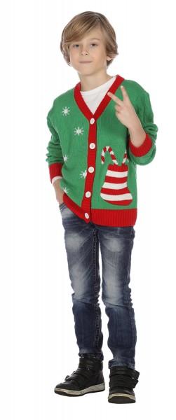 Weihnachts Strickjacke grün für Kinder