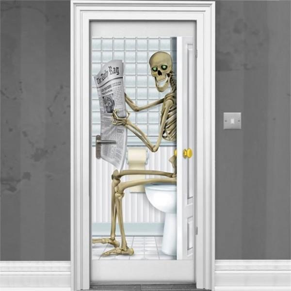 Halloween skelet badkamerdeur poster 1.5m