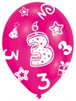 6 bunte Luftballons 3.Geburtstag 27,5 cm