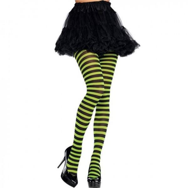 Collants rayés noir-vert