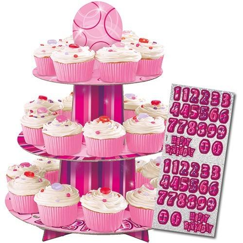 Happy Pink Sparkling Birthday Cupcake Stander Personalisierbar 1
