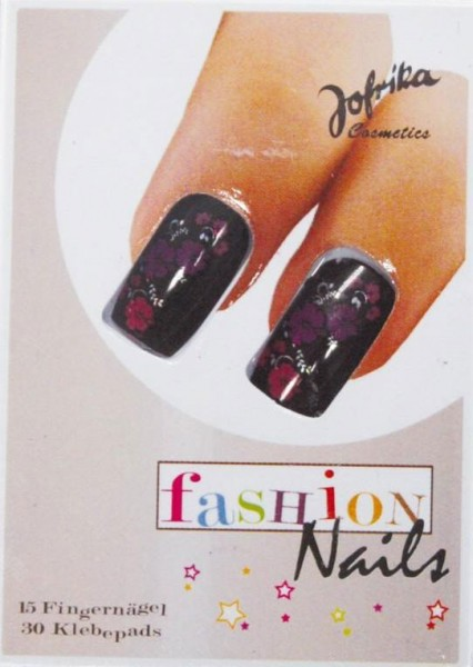 Schwarze Fashion Nails Blüten Fingernägel