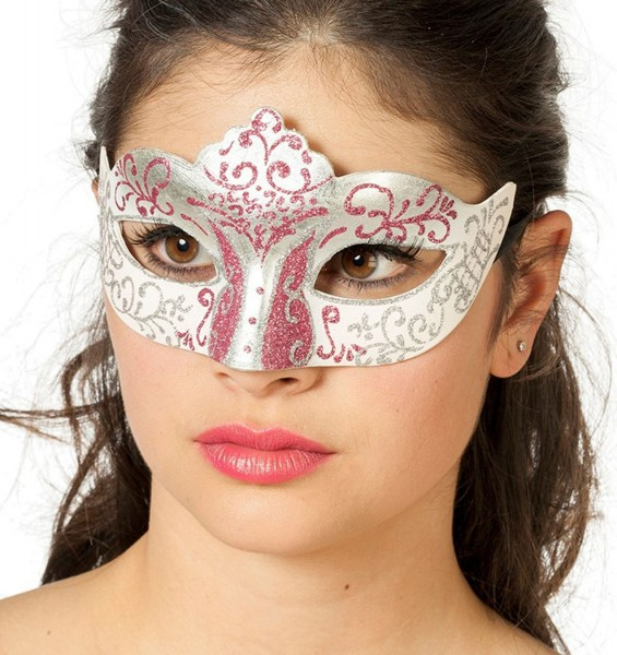 Glitter Augenmaske Weiß-Rosa-Silber