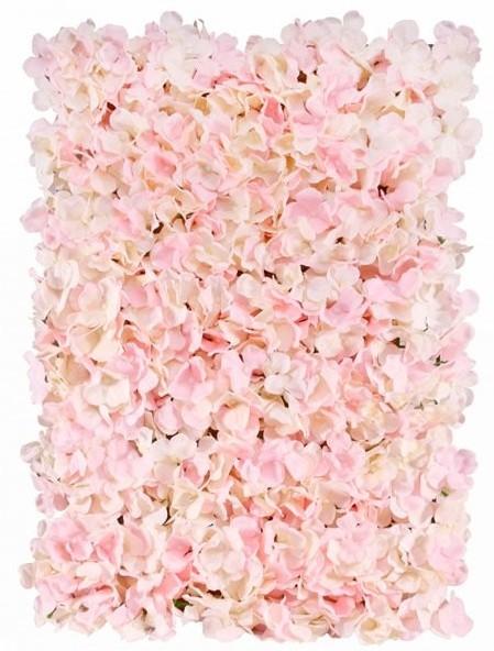 Pared de flores hortensias rosas 60 x 40cm