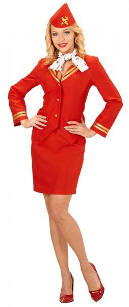 0d3b8f560d16e Rotes Stewardess Damenkostüm