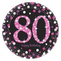 8 Pink 80th Birthday Pappteller 23cm