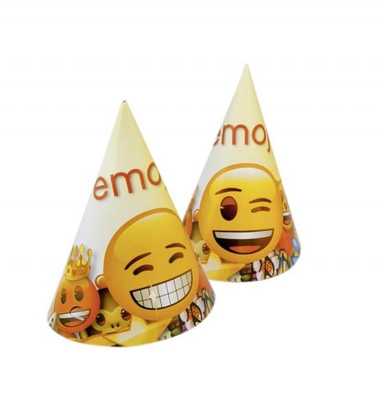 6 Lustige Emoji World Partyhüte 15cm