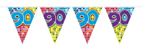 Groovy 90th Birthday Wimpelkette 6m