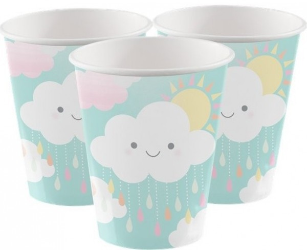 8 baby shower cups small cloud 23cm