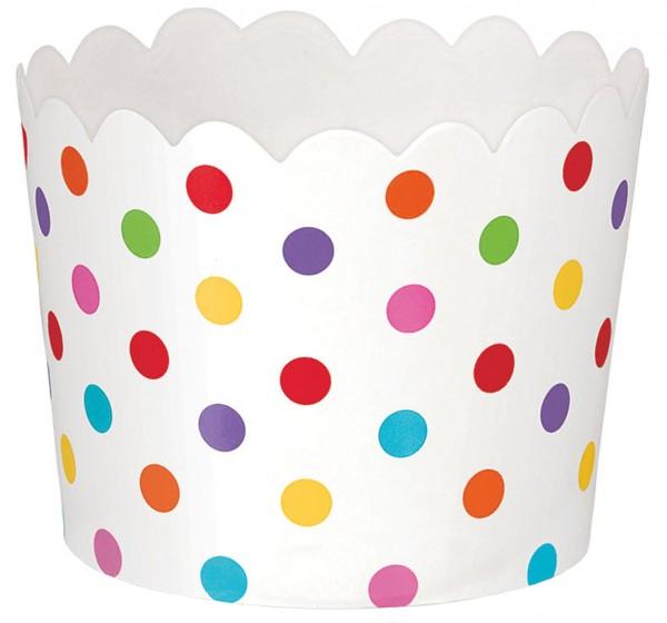 36 tazas de postre con puntos de colores