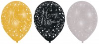 6 funkelnde Luftballons Happy Birthday