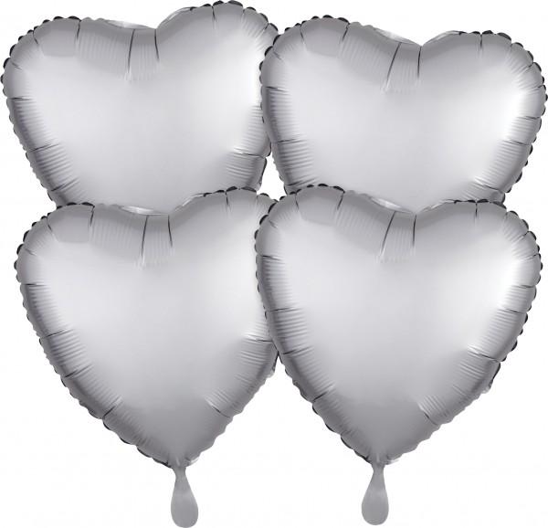 4 silver satin heart balloons