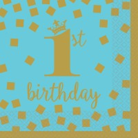 16 Bluestar 1st Birthday Servietten 25cm