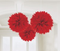 3 Romance Pompons rot