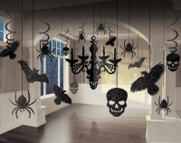 Glitzerndes Halloween Deko Set Raven Castle 17-Teilig