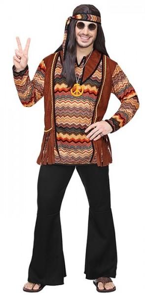 Retro guy hippie costume for men brown