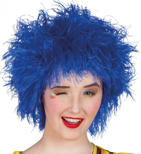 Niebieska peruka z kręconymi włosami unisex