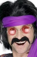 Hippie Schnurrbart Johnny Schwarz