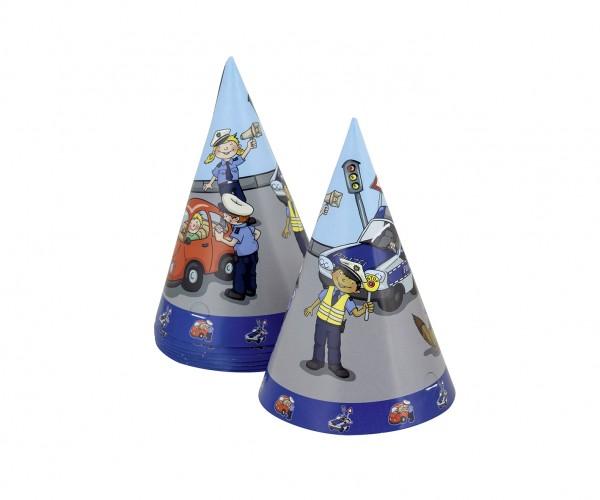 8 poliziotti usano cappelli per feste di compleanno per bambini 15 cm