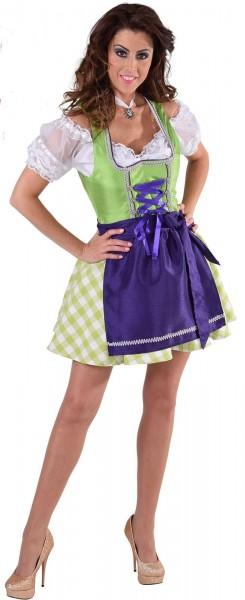 Leni Mini Dirndl In Grün-Violett