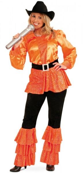70s Disco Fever Damenkostüm Orange 1