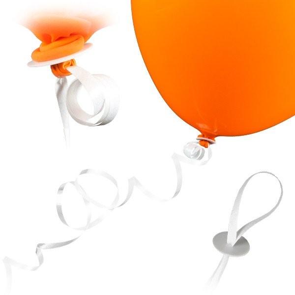 50 Ballonverschlüsse mit Band - Weiß 1