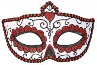 Dia De Los Muertos Augenmaske Weiß-Rot