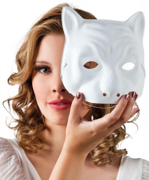 Katzen Halbmaske Weiß