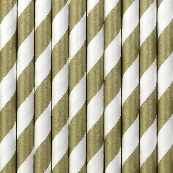 10 striped paper straws brown 19.5cm
