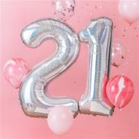 Sparkling 21st Birthday Folieballons 1,02m