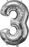 Folienballon Zahl 3 Silber 66cm