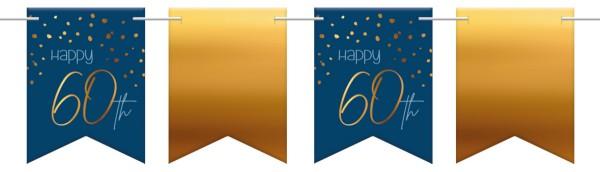 Cadena de banderín de 60 cumpleaños 6m Azul elegante
