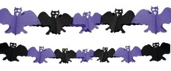 Fledermaus Papier-Girlande schwarz-violett 4m