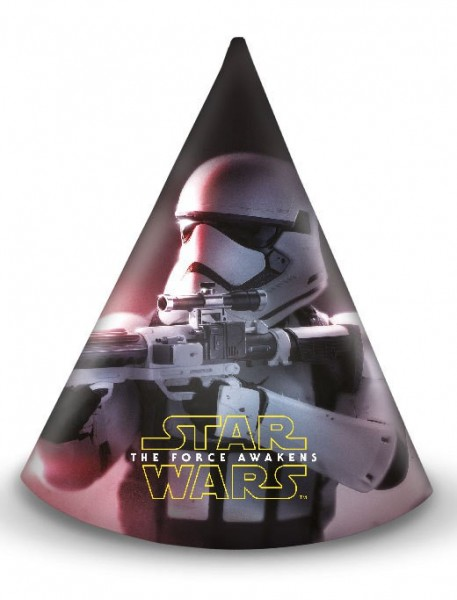 6 Star Wars The Force feestmutsen 16cm