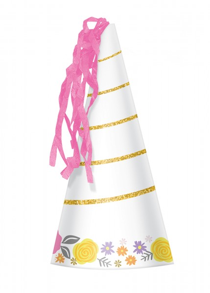8 party hats unicorn with fringes