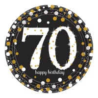 8 Golden 70th Birthday Pappteller 23cm