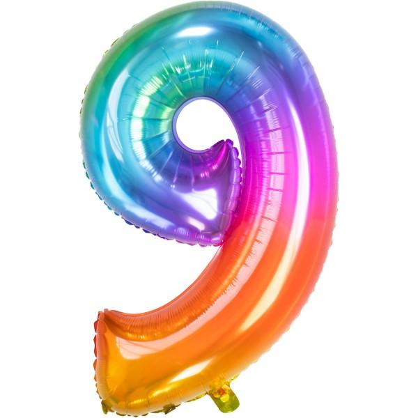 Ballon en aluminium numéro 9 Super Rainbow 86cm