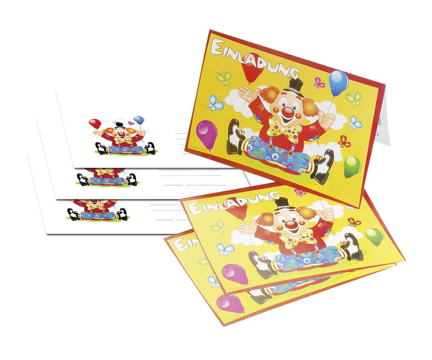 Zirkus Clown Federico Einladungskarten 8 Stück