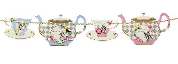 Alice im Wunderland Teetasse und Teekanne Girlande 4m