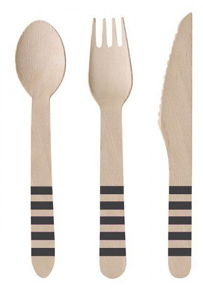 24 pcs. Wooden cutlery soccer party