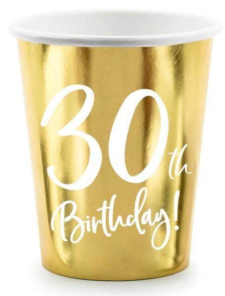 6 Glossy 30th Birthday cups 220ml