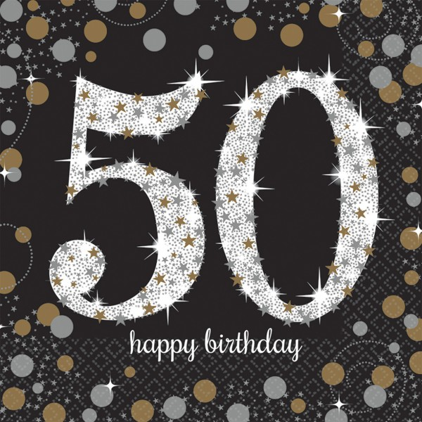 16 golden 50th birthday napkins 33cm