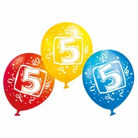 6 Luftballons Ziffer 5 bunt 23 cm