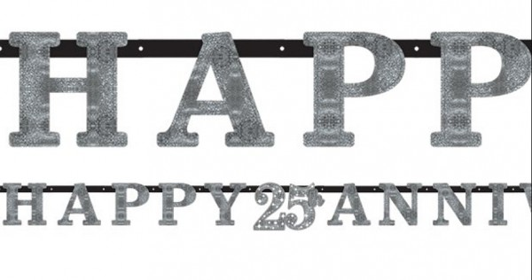 Happy 25 Silver Anniversary hanging decoration