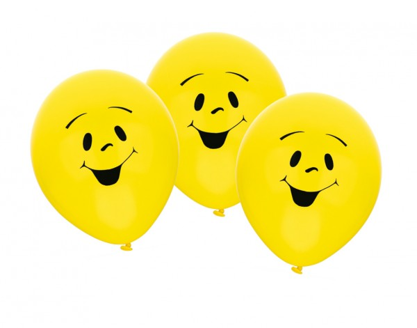 6 lachende Smiley Luftballons