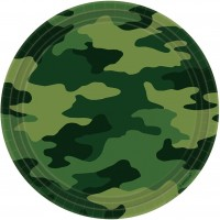 8 Runde Pappteller Partytime Camouflage 23cm