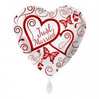 Just Married Coeur Ballon Feuille Papillon 43cm