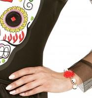 Totenkopf Armband Mit Roter Rose